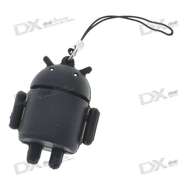 Cute Android Robot Cell Phone Strap - Black