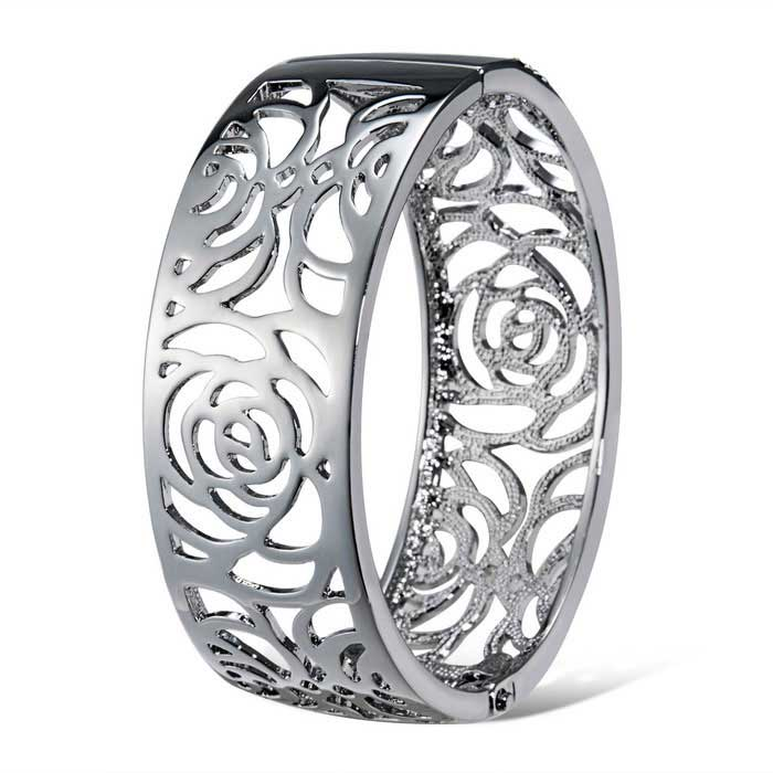 Xinguang-Womens-Beautiful-Hollow-Rose-Style-Alloy-Bracelet-Silver