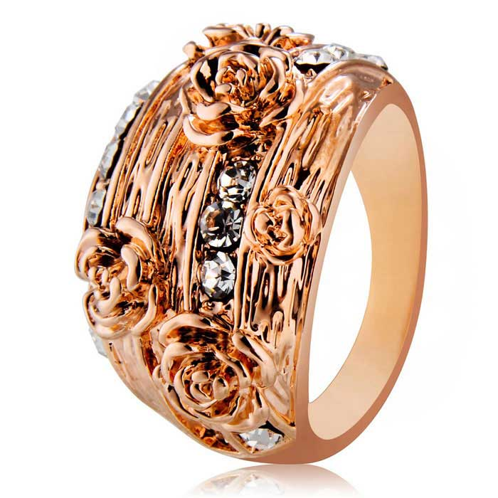 Xinguang Womens Five Flowers Rhinestones Ring - Rose Gold (US Size 9)Rings<br>Form ColorRose GoldU.S Size 9ModelN/AQuantity1 DX.PCM.Model.AttributeModel.UnitShade Of ColorGoldMaterialAlloy + rhinestonesGenderWomenSuitable forAdultsRing Diameter1.9 DX.PCM.Model.AttributeModel.UnitRing Circumference5.9 DX.PCM.Model.AttributeModel.UnitPacking List1 x Ring<br>