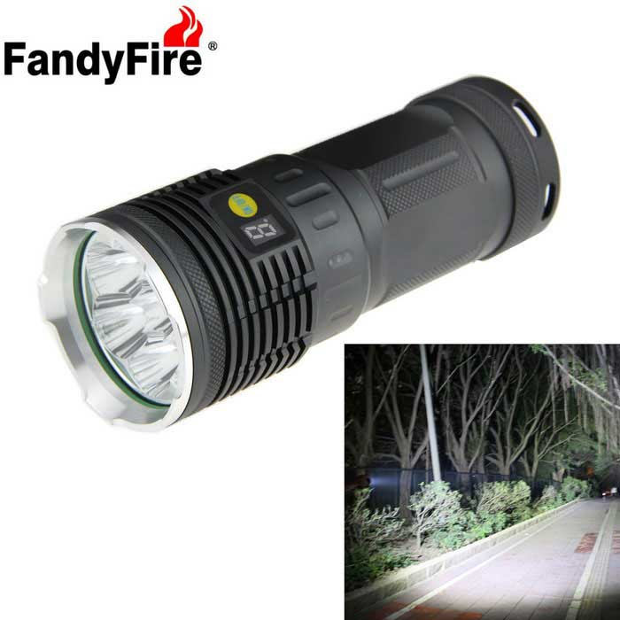 FandyFire 7-LED XM-L T6 Rechargeable LED Flashlight - Silver + Grey