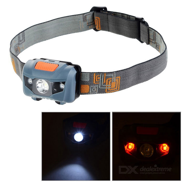 Mini 4-Mode White LED + Red LED Headlamp Warning Light - Black + GreyHeadlamps<br>Form  ColorBlack + Grey + Multi-ColoredQuantity1 DX.PCM.Model.AttributeModel.UnitMaterialABSEmitter BrandOthers,LEDLED TypeOthers,LEDEmitter BINothers,LEDColor BINOthers,White light / Red lightNumber of Emitters3Working Voltage   3.3~4.5 DX.PCM.Model.AttributeModel.UnitPower Supply3 x AAACurrent0.2 DX.PCM.Model.AttributeModel.UnitActual Lumens30 DX.PCM.Model.AttributeModel.UnitRuntime8~12 DX.PCM.Model.AttributeModel.UnitNumber of Modes4Mode ArrangementHi,Mid,Slow Strobe,Others,Red light steady onMode MemoryNoSwitch TypeForward clickySwitch LocationHeadLensPlasticReflectorPlastic SmoothBand Length61 DX.PCM.Model.AttributeModel.UnitCompatible Circumference35~65cmBeam Range25 DX.PCM.Model.AttributeModel.UnitPacking List1 x Headlight<br>