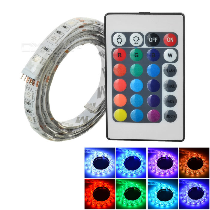 Buy 12W Flexible LED Light Strip RGB 900lm 60-SMD w/ 24-Key Remote (1m) with Litecoins with Free Shipping on Gipsybee.com