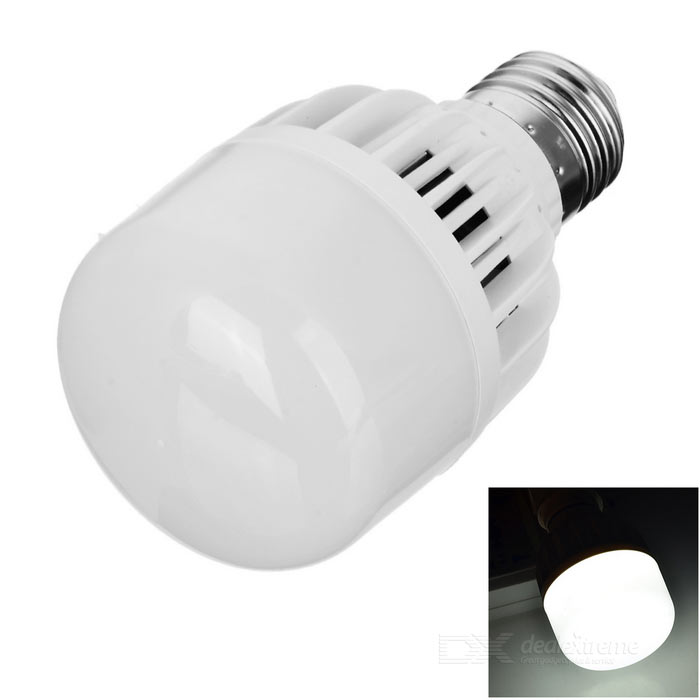 E27 7W LED-lamp lamp koud wit licht 345lm 12-SMD - wit + zilver