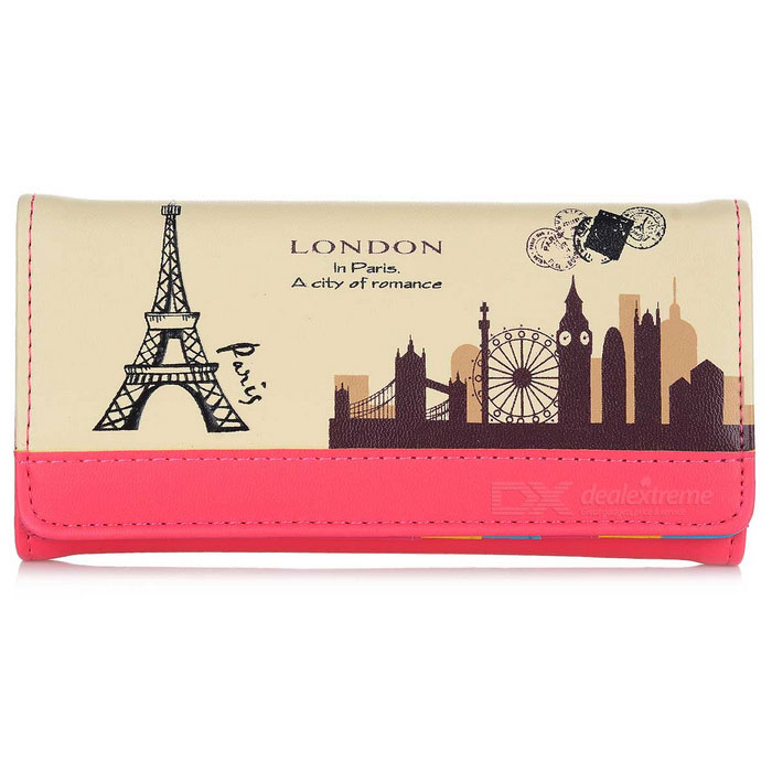 Printed PU Long Wallet Purse for Women - Deep Pink + Black