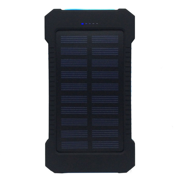 "F5 ""5000mAh"" Li-Polymer Battery Solar Charger External Bank - Blue"