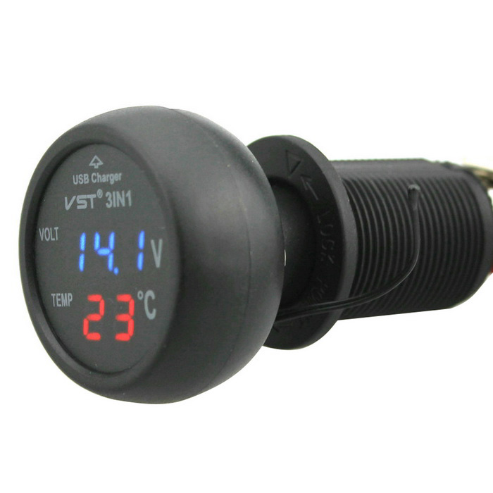 Buy Car 12V 24V Blue LED Voltmeter & Red LED Thermometer & USB Charger with Litecoins with Free Shipping on Gipsybee.com