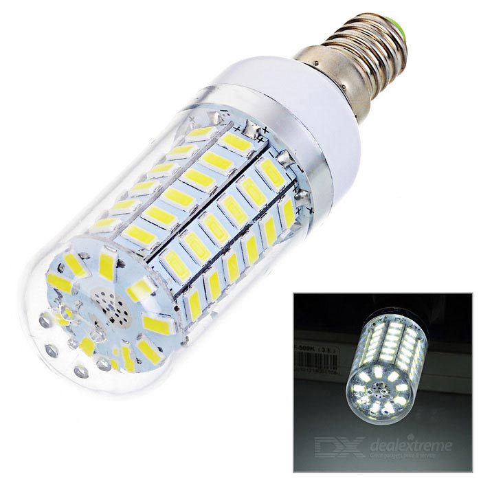 E14 3.7W 69-5730 SMD LED 450lm 6500K Cold White Light Corn LightE14<br>Form  ColorWhite + YellowColor BINCool WhiteMaterialABSQuantity1 DX.PCM.Model.AttributeModel.UnitPowerOthers,3.7WRated VoltageAC 220-240 DX.PCM.Model.AttributeModel.UnitConnector TypeE14Emitter TypeOthers,5730 SMD LEDTotal Emitters69Actual Lumens450 DX.PCM.Model.AttributeModel.UnitColor Temperature12000K,Others,6000~6500KDimmableNoPacking List1 x LED light<br>