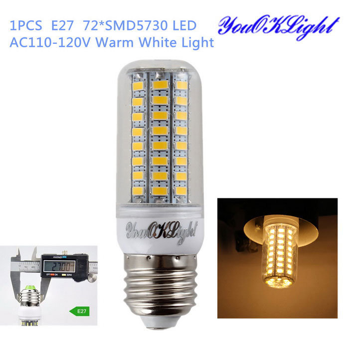 YouOKLight E27 18W LED Corn Bulb Lamp Warm White Light 3000K 72-SMDE27<br>Form  ColorTransparent+light yellow+multicolorColor BINWarm WhiteModelYK1061MaterialAL+PCQuantity1 DX.PCM.Model.AttributeModel.UnitPower18WRated VoltageOthers,AC 110-120 DX.PCM.Model.AttributeModel.UnitConnector TypeE27Chip BrandOthers,N/AEmitter TypeOthers,5730 SMD LEDTotal Emitters72Theoretical Lumens1800 DX.PCM.Model.AttributeModel.UnitActual Lumens1600 DX.PCM.Model.AttributeModel.UnitColor Temperature3000KDimmableNoBeam Angle360 DX.PCM.Model.AttributeModel.UnitCertificationCE&amp;RoHSPacking List1 x LED Corn Bulb<br>