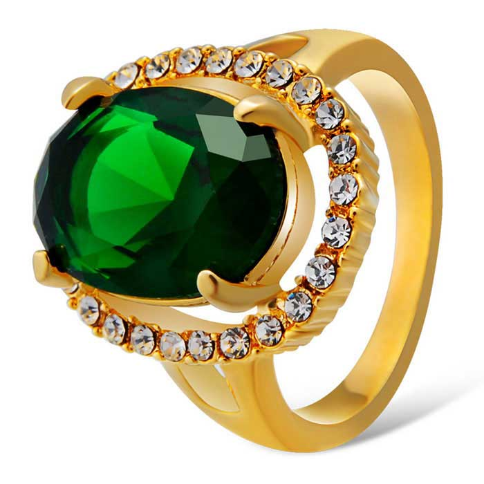 Xinguang Women's Green Crystal Inlaid Finger Ring - Gold (US 8)