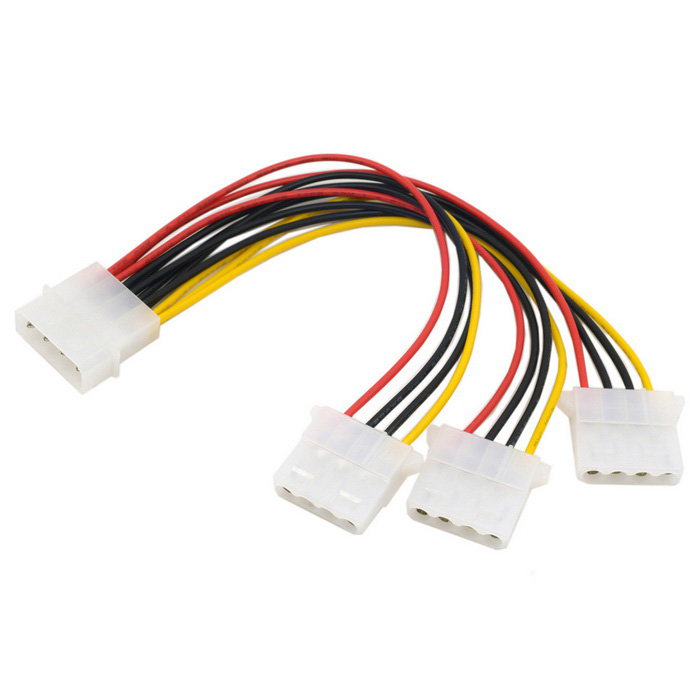 CY SA-186 IDE 4Pin to 3 IDE Splitter Power Cable - Multi-Color (10cm)