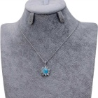 Xinguang Women's Flower Style Crystal Inlaid Necklace - Silver + Blue