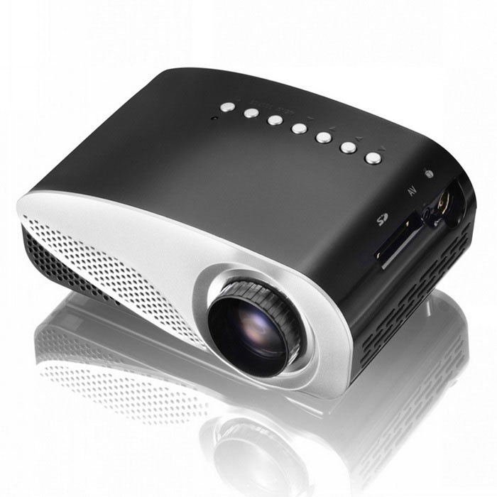 Micro / Mini / Multi-media Projector Home Cinema Theater - BlackProjectors<br>Form ColorBlackBrandOthers,N/AQuantity1 DX.PCM.Model.AttributeModel.UnitMaterialABSShade Of ColorBlackTypeLCDBrightnessUnder 1000 lumensBrightness200 DX.PCM.Model.AttributeModel.UnitMenu LanguageEnglish,French,German,Italian,Spanish,Portuguese,Russian,Vietnamese,KoreanBuilt-in SpeakersNoEmitter BINLEDLens EffectsMicroscopeDisplay Size20-100Aspect Ratio16:9Contrast Ratio1000:1Native Resolution480*320Maximum Resolution1080PMaximum Resolution1920 x 1080Throw Distance1.2-3.6mBuilt-in Memory / RAM8GBStorageNoExternal Memory32GBAudio FormatsMP3Video FormatsRM,RMVB,FLV,WMVPicture FormatsJPEG,BMP,PNG,GIFInput ConnectorsVGA,USB,HDMIOutput ConnectorsVGA Port, D-sub HD 15-pin (female) x 1 (RGB x 1)Power Consumption20~39WPower Consumption32WPower AdapterUS PlugsPacking List1 x English Manual1 x Triple AV cable  (0.2m)1 x Power Adapter  (110-240V  0.7m)1 x Remote control  (2 x AAA batteries not included)1 x Projector (SD card not included)<br>