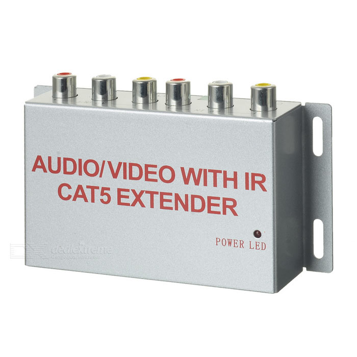 Audio / Video with IR Cat 5 ExtenderAudio/Video Transmitters<br>Form  ColorSilver + MulticoloredPower AdapterUS PlugShade Of ColorSilverMaterialIron case + ABSQuantity1 DX.PCM.Model.AttributeModel.UnitFrequency38KHz~56KHzChannelAVVideo SystemAutoTransmition Distance8mInterfaceRJ45,Others,RCAPacking List1 x Distribution box1 x Receiving terminal (200cm±2cm)1 x IR transmitter (105cm±2cm)1 x USB power supply (105cm±2cm)1 x 110~240V US plug power adapter<br>