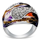 Xinguang Klassisk olje maleri stil full av Rhinestones Ring - Silver + Purple (US Størrelse 8)