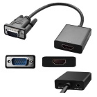 VGA + 3.5mm lyd til HDMI HD-video converter m / USB-kabel - svart