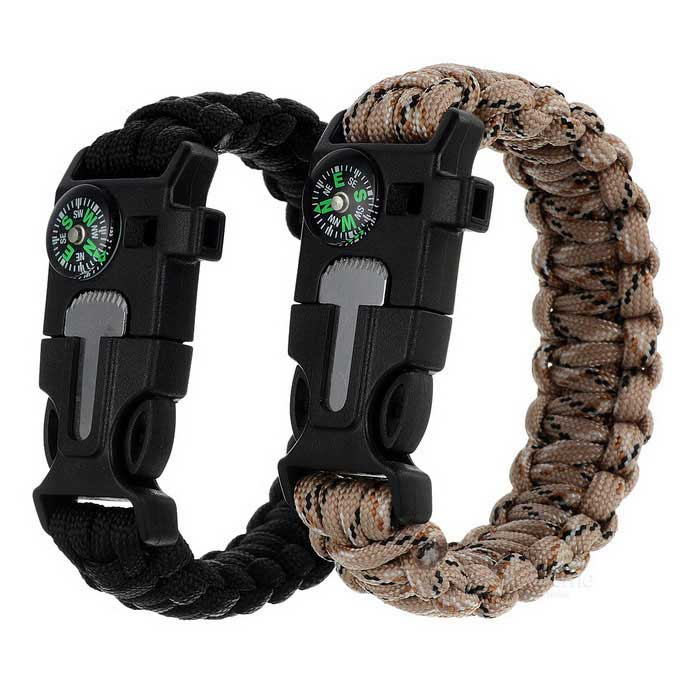 Outdoor Bracelet w/ Compass / Whistle - Black + Camouflage (2PCS)Compasses<br>Form ColorBlack + desert camouflageQuantity2 DX.PCM.Model.AttributeModel.UnitMaterial550 tensile force parachute cord + ABSAnalog or DigitalAnalogBattery included or notNoRulerNoBest UseCamping,Mountaineering,TravelCertificationCEPacking List2 x Bracelets<br>