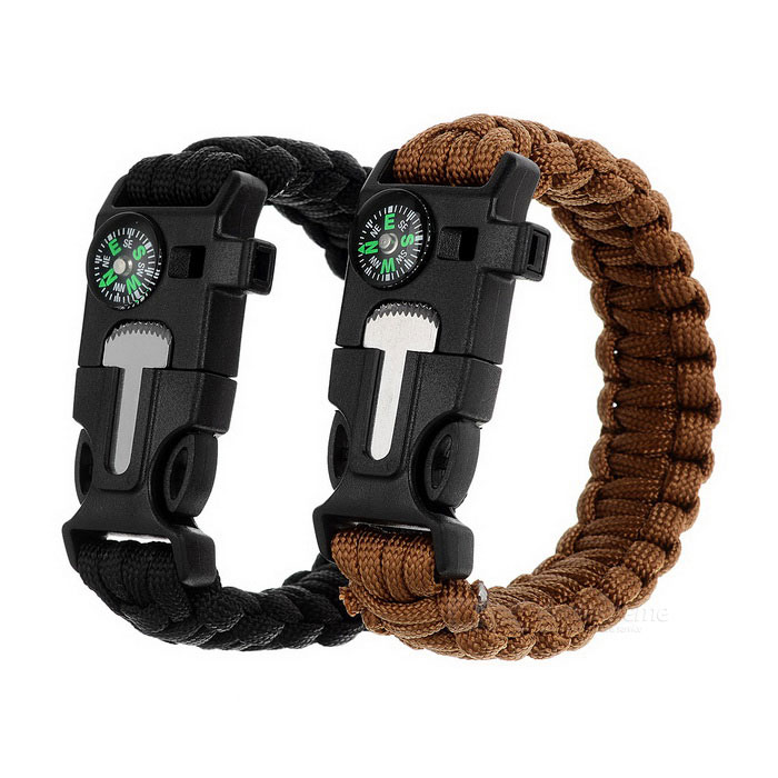 Outdoor Bracelet w/ Flintstone / Whistle - Black + Brown (2PCS)Compasses<br>Form ColorBlack + BrownQuantity2 DX.PCM.Model.AttributeModel.UnitMaterial550 tensile force parachute cord + ABSAnalog or DigitalAnalogBattery included or notNoRulerNoWaterproofYesBest UseCamping,Mountaineering,TravelCertificationCEPacking List2 x Bracelets<br>