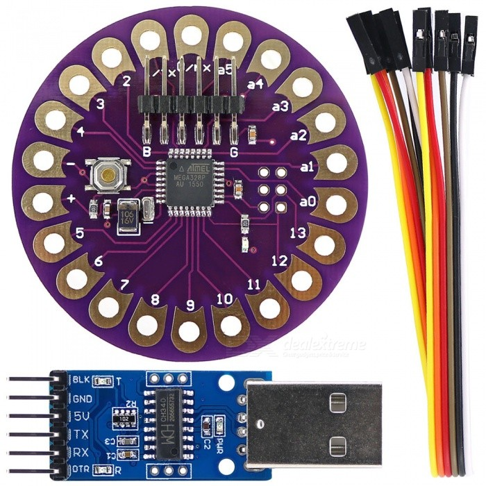 Lilypad ATmega328P Development Board + CH340G USB to TTL ProgrammerBoards &amp; Shields<br>Form ColorPurple + BlackModelN/AQuantity1 DX.PCM.Model.AttributeModel.UnitMaterialPCB + Alloy + PlasticEnglish Manual / SpecYesDownload Link   http://pan.baidu.com/s/1qXwj8YSPacking List1 x LilyPad development board1 x CH340G USB to TTL Adapter Module1 x 1X6P cable (20cm)<br>