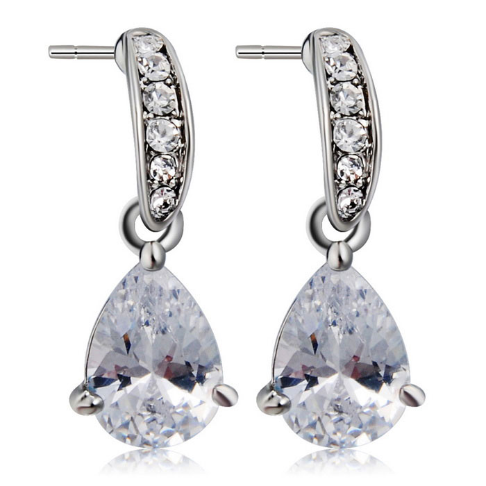 Xinguang Women's Small Water Droplets Crystal Earrings - Silver
