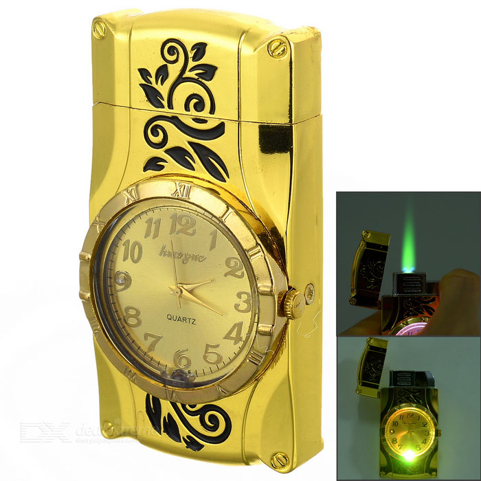 Buy Creative Butane Gas Refill Flame Lighter w/ Electronic Watch - Gold with Litecoins with Free Shipping on Gipsybee.com