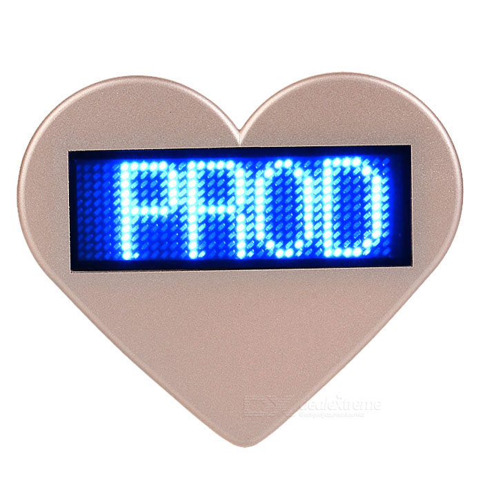 Heart-Shaped Blue Light Programmable Scrolling Message Badge Name TagUSB Lights<br>Form  ColorRandom colorQuantity1 DX.PCM.Model.AttributeModel.UnitMaterialABS + LEDShade Of ColorGoldLight ColorBlueLED QtyNonePowered ByUSBPacking List1 x Heart-shaped shell1 x LED display tag1 x 220V US plug power adapter1 x USB cable (80cm)1 x CD<br>