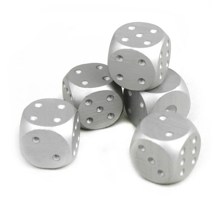 Buy Exquisite Aluminum Alloy Dice - Silver (5PCS) with Litecoins with Free Shipping on Gipsybee.com