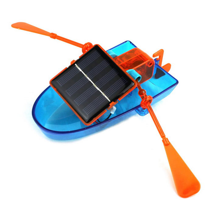 Solar Powered Canoe Assembly DIY Ship Toy - BlueSolar Powered Toys<br>Form  ColorRoyal Blue + Red + Multi-ColoredMaterialPlastic + Electronic componentsQuantity1 DX.PCM.Model.AttributeModel.UnitNumber10Size19cm x 31.5cm x 7cmSuitable Age 8-11 years,12-15 years,Grown upsAssemblingYesMotorYesPacking List1 x Hull1 x Package paddle parts1 x Packaging motor and other parts<br>