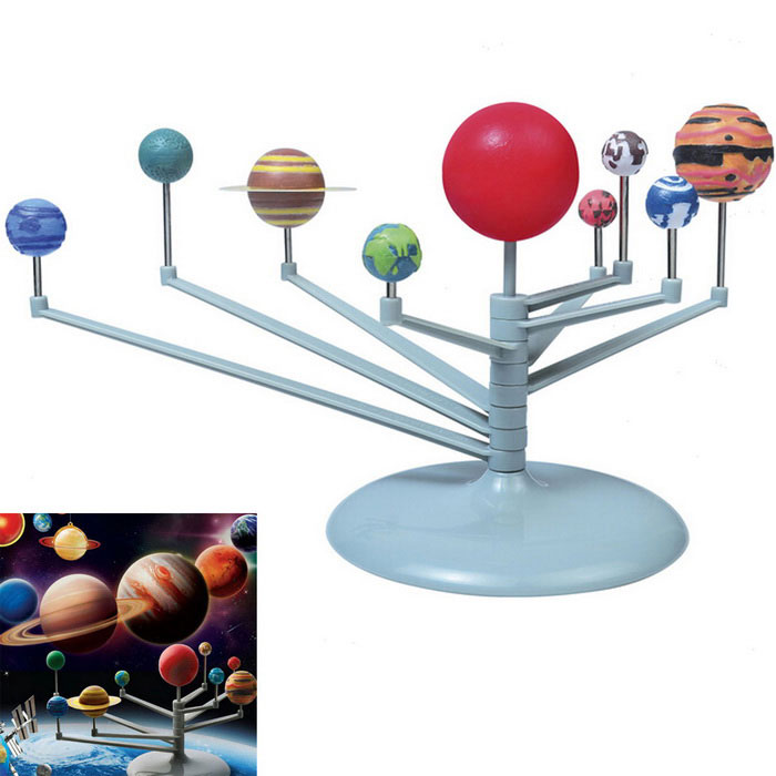 Nine Planets Universe The Science of Astronomy Toy - Multi-ColoredAnime or Movie Figures<br>Form  ColorYellowish Brown + Blue + Multi-ColoredMaterialPlasticQuantity1 DX.PCM.Model.AttributeModel.UnitSuitable Age 8-11 years,12-15 yearsPacking List2 x Plastic parts board8 x Rotating arm1 x Support rotating block1 x Support arm1 x Brush1 x Sandpaper1 x Saturn ring template1 x Boxed pigment9 x Steel1 x Manual<br>