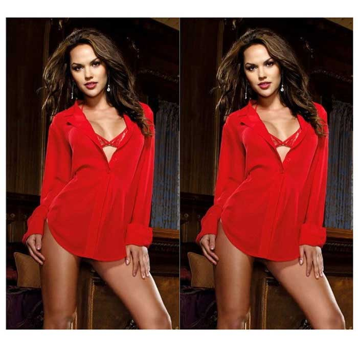 Women's 3-in-1 Chiffon Sexy Lingerie + Perspective Shirt Suit - Red