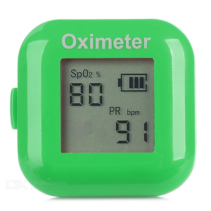 "1"" LCD Screen USB Rechargeable Pulse Oximeter - Green"