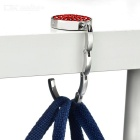 Compact Folding Stainless Steel Bag Hanger Holder Hook - Red + Silver