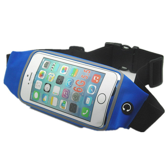"""Waist Bag w/ 5.5"""" Touch Mirror Screen for IPHONE 6 PLUS - Blue"""