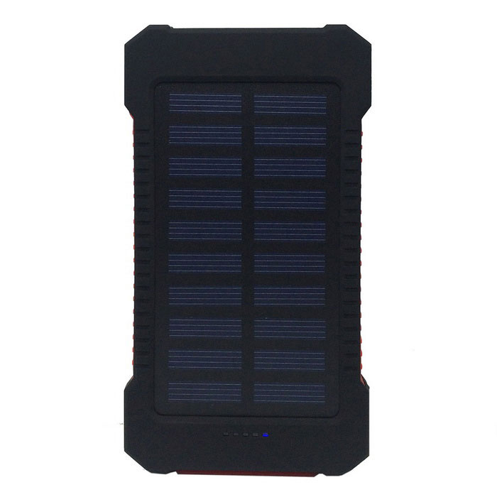 "F5 ""5000mAh"" Li-Polymer Battery Solar Charger External Bank - Red"