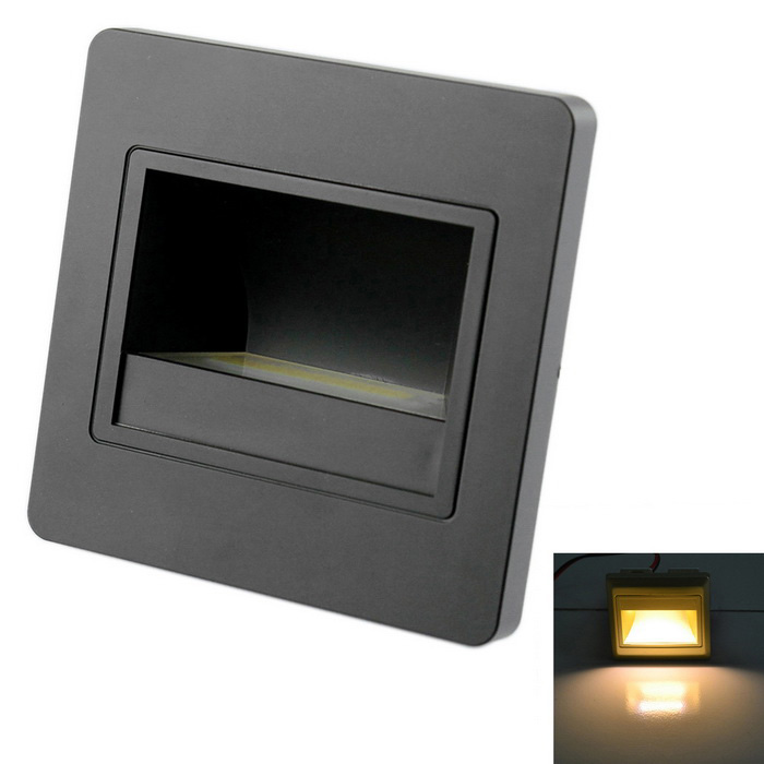 JIAWEN 1.5W 3000-3200K 120lm Embedded LED Footlights Stair Lamp COB Small Night Light (AC100-265V)LED Nightlights<br>MaterialPC Flame retardant materialForm  ColorBlackQuantity1 DX.PCM.Model.AttributeModel.UnitPowerOthers,1.5WRated VoltageOthers,AC 100-265 DX.PCM.Model.AttributeModel.UnitConnector TypeOthers,wiringColor BINWarm WhiteChip BrandOthers,N/AEmitter TypeCOBTotal Emitters1Theoretical Lumens80-120 DX.PCM.Model.AttributeModel.UnitActual Lumens80-120 DX.PCM.Model.AttributeModel.UnitColor Temperature12000K,Others,3000-3200KDimmableNoBeam Angle90 DX.PCM.Model.AttributeModel.UnitInstallation TypeWall MountPacking List1 x LED lamp1 x Stand4 x Nuts<br>