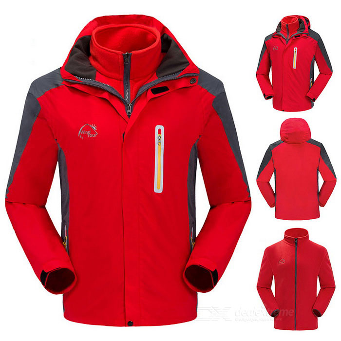 Wind-Tour-Mens-Outdoor-Water-Resistant-Warm-Windbreaker-Jacket-Coat-w-Removable-Liner-Red-(XL)