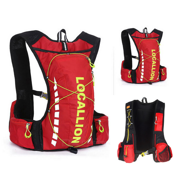 LOCAL LION Outdoor Shoulders Bag Backpack - Red + Green + WhiteBike Bags<br>Form  ColorRed + BlueModel508#Quantity1 DX.PCM.Model.AttributeModel.UnitMaterialPolyester + water-resistant fabricTypeOthers,Cycling bagCapacity20~25 DX.PCM.Model.AttributeModel.UnitWaterproofYesGenderUnisexBest UseCycling,Mountain Cycling,Recreational Cycling,Road CyclingCertificationCEPacking List1 x Backpack<br>