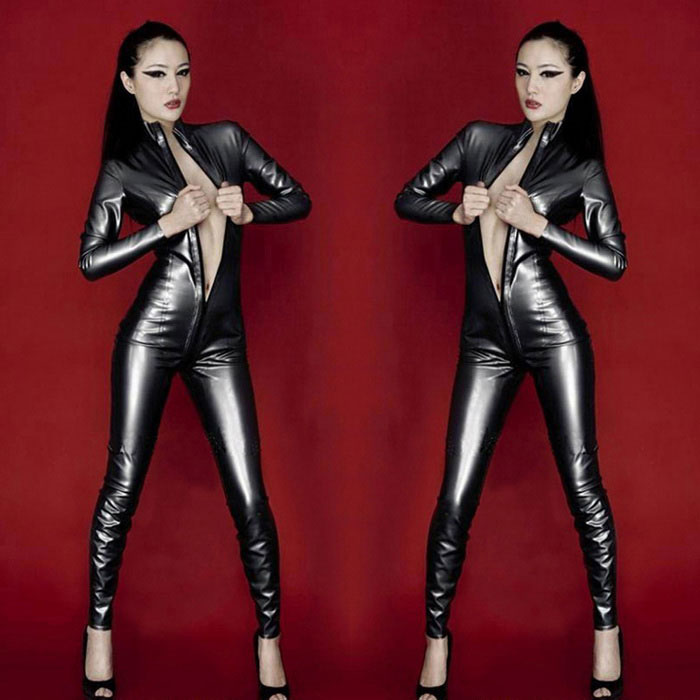 Women's Sexy Zipped Open-Crotch Patent Leather Jumpsuit