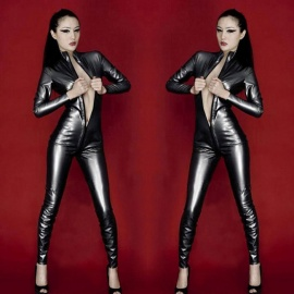 Womens-Sexy-Zipped-Open-Crotch-Patent-Leather-Jumpsuit