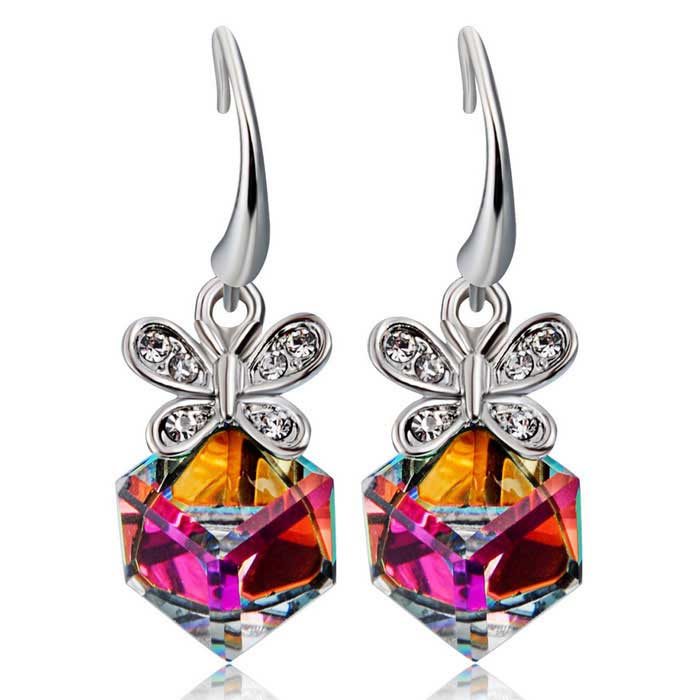 Xinguang Women's Beautiful Exquisite Blue Crystal Butterfly Square Crystal Earrings