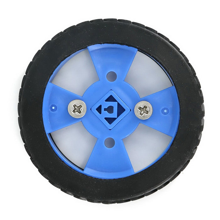 Inteligente 70x12mm Car Model Wearable Rueda de goma para N20 Gear Motor - Azul + Negro