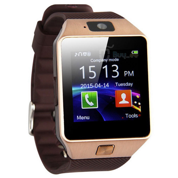 Bluetooth Smart Wrist Healthy Watch for Phone - Gold + BrownSmart Watches<br>Form  ColorDark Brown + SilverQuantity1 DX.PCM.Model.AttributeModel.UnitMaterialMentalShade Of ColorBrownCPU ProcessorMTK6261Bluetooth VersionBluetooth V3.0Touch Screen TypeSLCDOperating SystemOthers,Android WearCompatible OSAndroid &amp; iOSWater-proofNoBattery Capacity380 DX.PCM.Model.AttributeModel.UnitBattery TypeLi-polymer batteryStandby Time180 DX.PCM.Model.AttributeModel.UnitCertificationCEOther FeaturesBand Material:Silicone/Rubber; Bloetooth: V 3.0; MPN:1000; Color: Gold; Country/Region of Manufacture: China<br>Camera: 0.3MP (240 x 240); Operating System:Android Wear; Features: Support SIM/TF Card; Compatible Operating System: Android &amp; iOS<br>Manufacturer warranty: 1 year; Storage Capacity:UP to 32GBScreen Resolution240 x 240 pixelsNetwork Type2GCellularGSMSIM Card TypeMicro SIMLanguageEnglish, French, Polish, Portuguese, Italian, German, Vietnamese, ArabicWristband Length24.5 DX.PCM.Model.AttributeModel.UnitBattery ModeReplacementScreen Size- DX.PCM.Model.AttributeModel.UnitPacking List1 x mart watch1 x USB Cable1 x English User Manual<br>