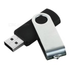 Rotating High-Speed USB 2.0 Flash Drive - Silver + Black (4GB)