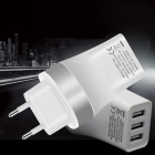 EU Plug 3-USB 5V 3.4A Power Adapter Charger for Phone - Silver + White