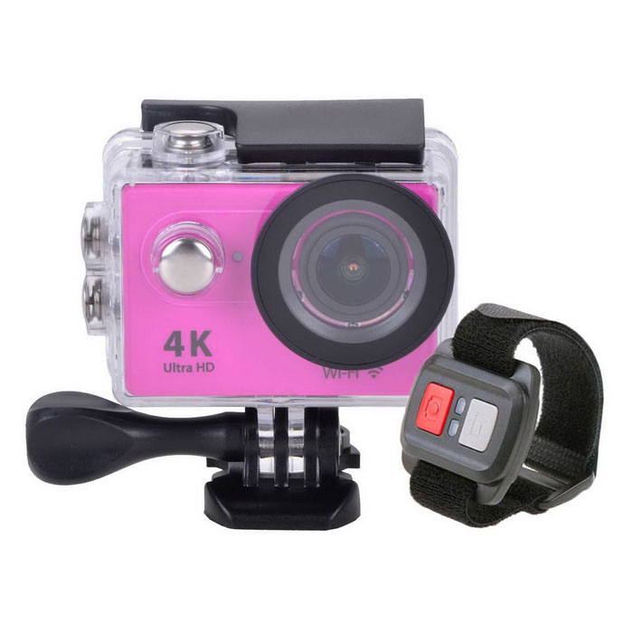 H9R Wi-Fi 2 12MP 4K 30m Waterproof 170° Ultra-wide Lens Action CameraSport Cameras<br>Form ColorDark PinkShade Of ColorPinkMaterialABSQuantity1 DX.PCM.Model.AttributeModel.UnitImage SensorCMOSImage Sensor Size2/3 inchesAnti-ShakeYesFocal DistanceNo DX.PCM.Model.AttributeModel.UnitFocusing RangeNoOptical ZoomNoDigital ZoomOthers,N/ABuilt-in SpeedliteNoSpeedlite RangeNoApertureF2.0Aperture Range12cm~InfiniteWide Angle170° 6G HD wide-angle fish-eye lensEffective Pixels12.0 MPImagesJPGStill Image Resolution12MP 4608x2592; 8MP 3760x2120; 5MP 2976x1672; 4MP 2648x1504VideoMOVVideo Resolution4k @25fps; 2.7k @30fps; 1920*1080 pixels @60/30 fpsVideo Frame Rate15,30,60Audio SystemStereoCycle RecordYesISONoExposure Compensation-2;-1.7;-1.3;-1;-0.7;-0.3;0;+0.3;+0.7;+1;+1.3;+1.7;+2.0Scene ModeAutoWhite Balance ModeAutoSupports Card TypeTFSupports Max. Capacity32 DX.PCM.Model.AttributeModel.UnitBuilt-in Memory / RAMNoOutput InterfaceMicro USB,Micro HDMILCD ScreenYesScreen TypeTFTScreen Size2 DX.PCM.Model.AttributeModel.UnitScreen Resolution320 x 240Battery Measured Capacity 1050 DX.PCM.Model.AttributeModel.UnitNominal Capacity1050 DX.PCM.Model.AttributeModel.UnitBattery TypeLi-ion batteryBattery included or notYesBattery Quantity1 DX.PCM.Model.AttributeModel.UnitVoltage3.7 DX.PCM.Model.AttributeModel.UnitBattery Charging Timeabout 3 hoursLow Battery AlertsYesWater ResistantWater Resistant 3 ATM or 30 m. Suitable for everyday use. Splash/rain resistant. Not suitable for showering, bathing, swimming, snorkelling, water related work and fishing.Supported LanguagesEnglish,Traditional Chinese,Russian,Portuguese,Spanish,Italian,Korean,French,German,Others,Dutch Polski Japanese ThaiCertificationCEPacking List1 x Wifi sport camera1 x Controller1 x Wrist strap (about 28cm)1 x Waterproof housing1 x Protective back case1 x Handle bar/ pole mount2 x Helmet bases 1 x Mount A1 x Mount B1 x Mount C1 x Mount D1 x Mount E1 x Mount F1 x Mount G1 x Clip A1 x Clip B2 x Bandages (36cm)  2 x Velcro str