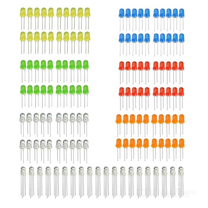 5mm Red / Yellow / Orange / Blue / Purple / Green / RGB 3-Color LED Diodes Kit (130pcs)