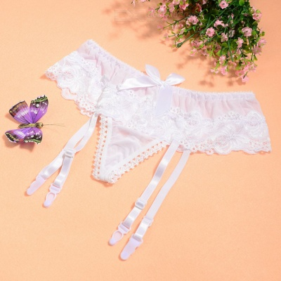 203cfda36841 Sexy See-Through Lace Bowknot Thong G-String Panties Underwear w/  Adjustable Garters