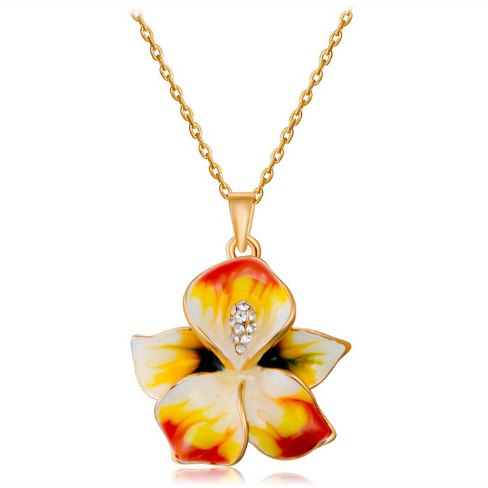 Xinguang Women's Small Fresh Sweet Flower Paint Necklace