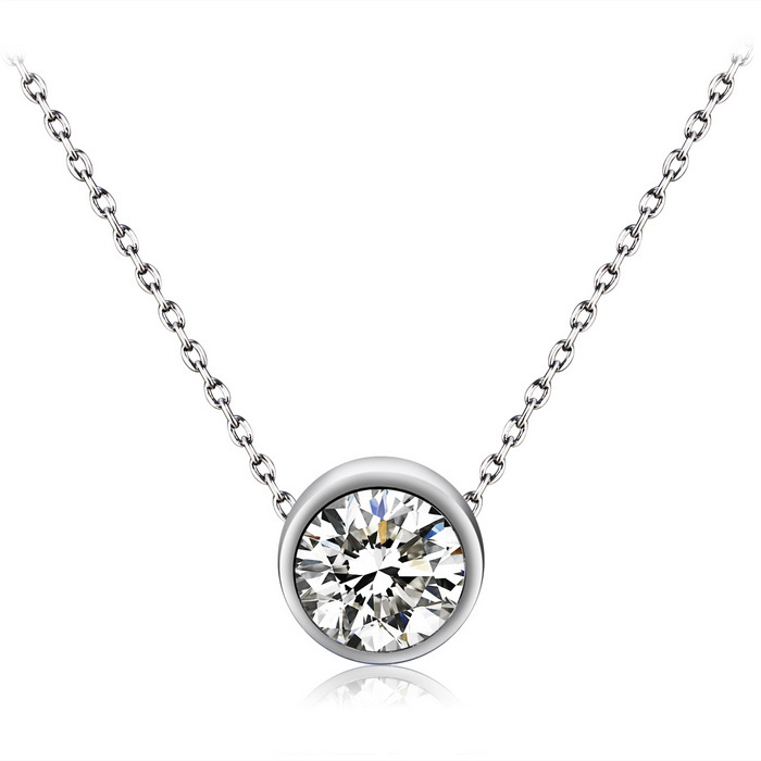 Xinguang Womens Simple Mode Single Diamond Crystal Necklace