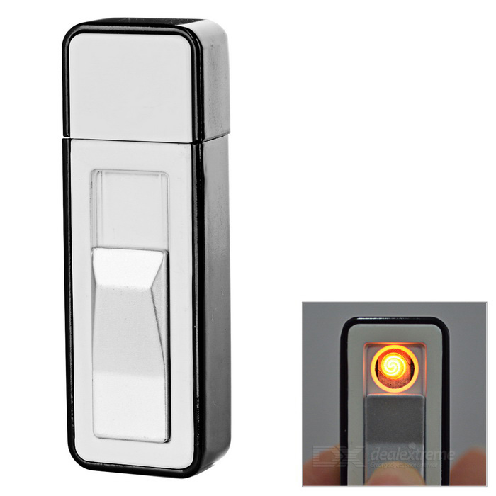 USB Rechargeable Windproof Electronic Cigarette Lighter - White + Black