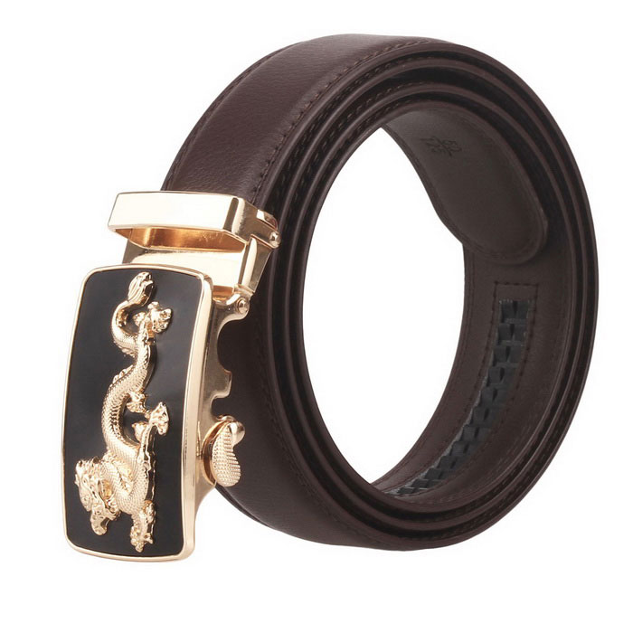 Fanshimite Men's Automatic Buckle Leather Belt (130cm)